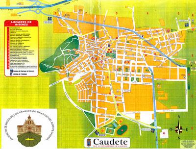 Plano callejero de Caudete, con el Camino de Santiago indicado en él.