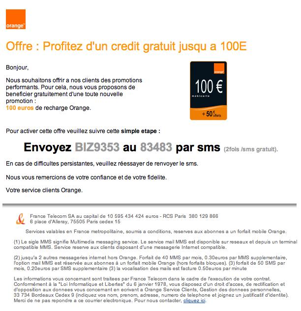 Orange   Votre cadeau 100 euro de recharge gratuit   ATTENTION ARNAQUE! e70e7b615c5