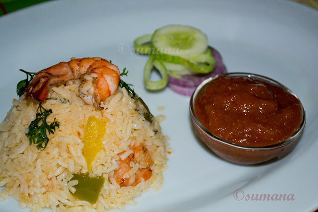 Prawn, rice, Mexican rice