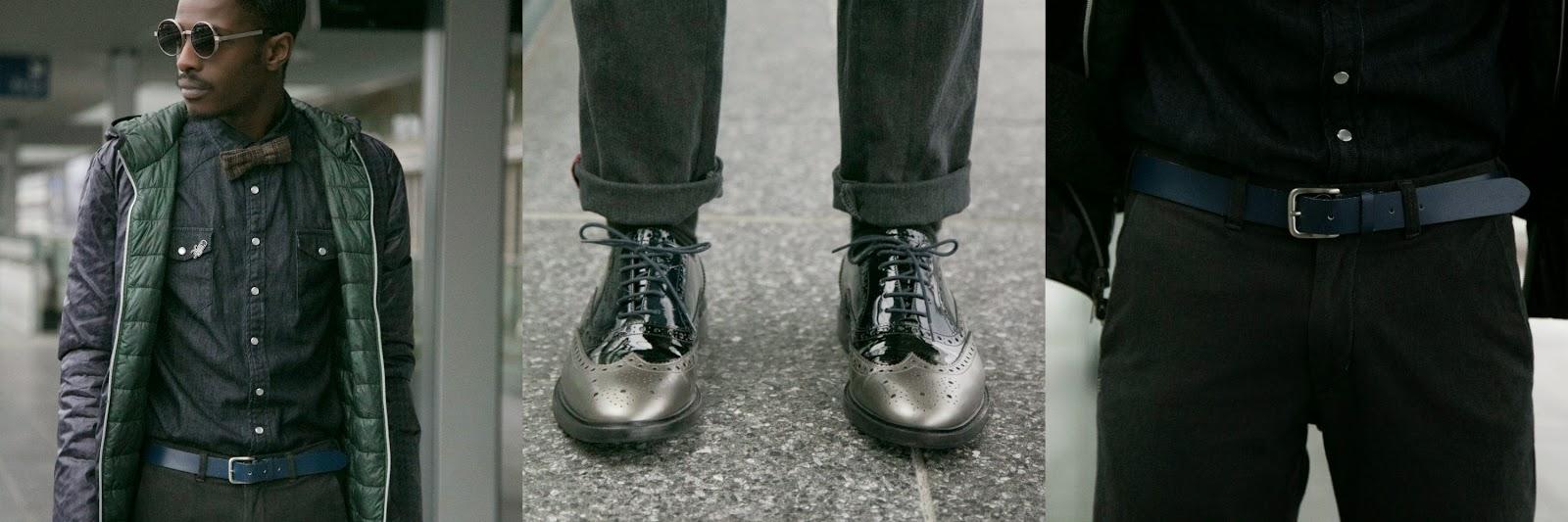 Melvin & Hamilton brogue shoes black grey