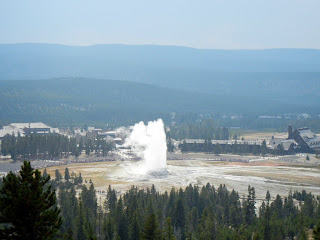 Old Faithful erupting in Yellowstone National Park in Wyoming