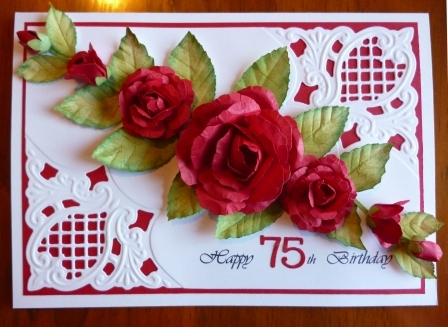 Handcrafted by Helen 75th Birthday Card for my Mum – 75 Birthday Card