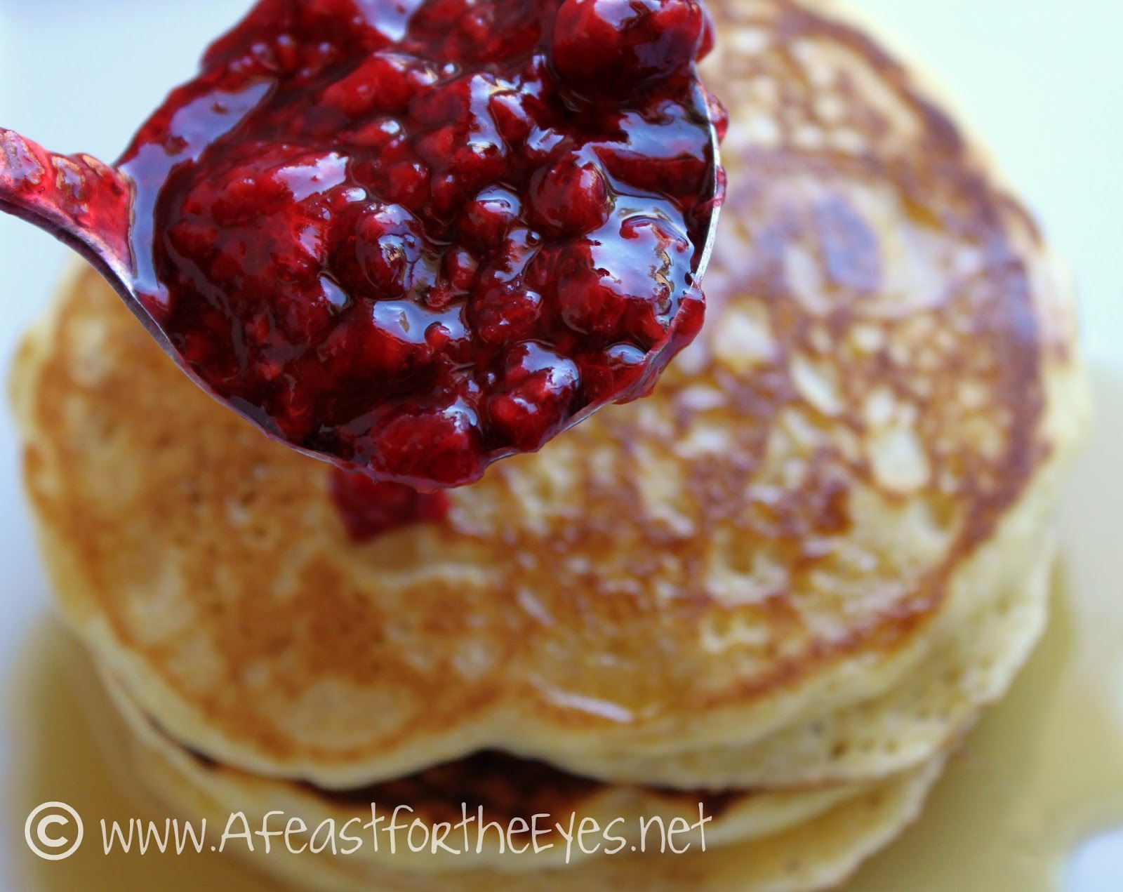 A Feast for the Eyes: Cornmeal Pancakes with a Raspberry ...