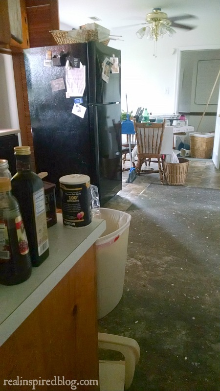 Living in the Chaos: kitchen in the middle of being repaired