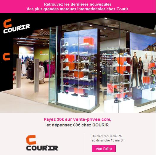 Payez 30€ sur vente-privee.com et dépensez 60€ chez COURIR bon plan promotions courir