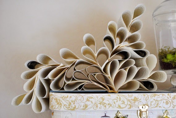 Flower decors by Recycling old magazine papers