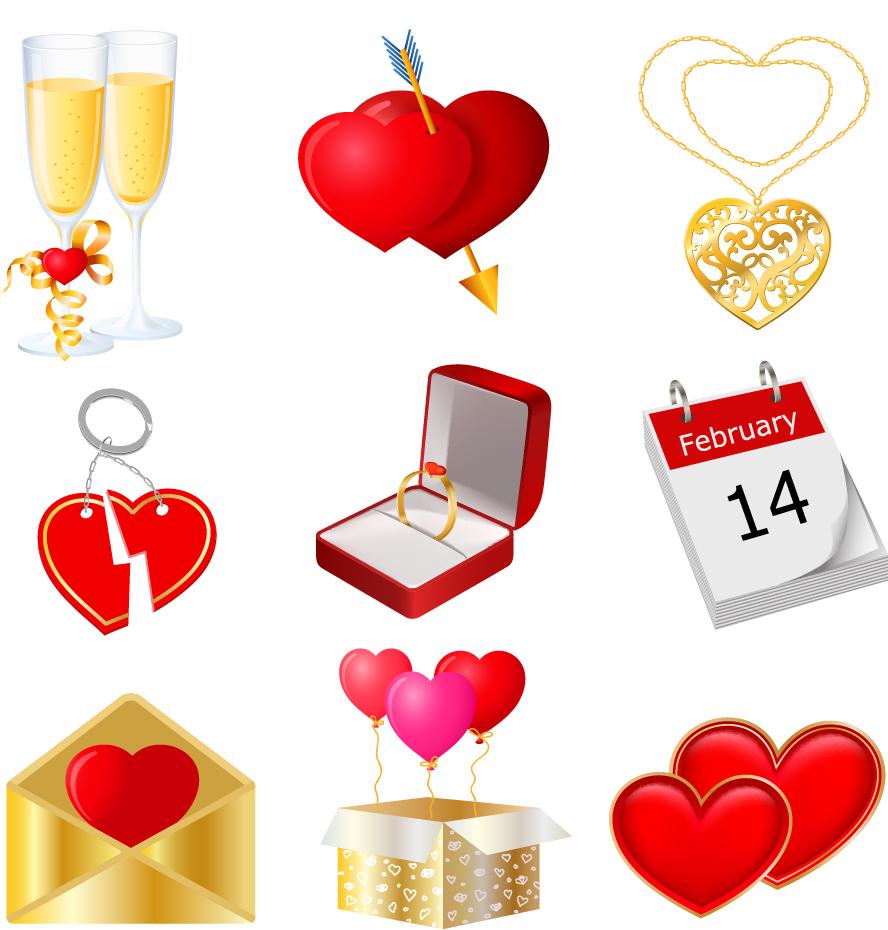 バレンタインデーのハート素材 Heart valentine day elements vector イラスト素材5