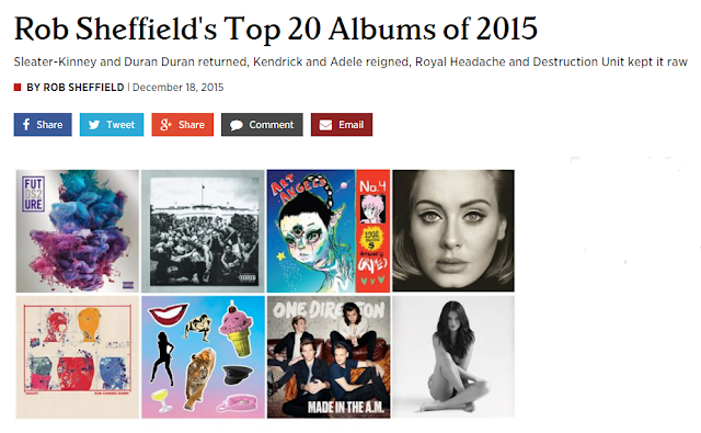 rob sheffield, tomber les filles avec duran duran, top 20 albums 2015, rolling stone, duran duran, paper gods, adele, adele 25, pressure off, what are the chances