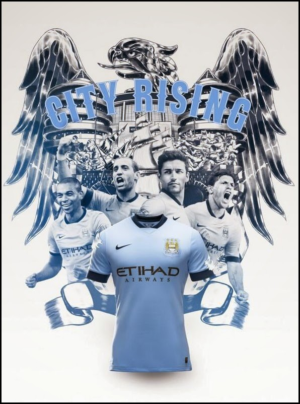Player Version Manchester City Home Soccer Kit 14-15