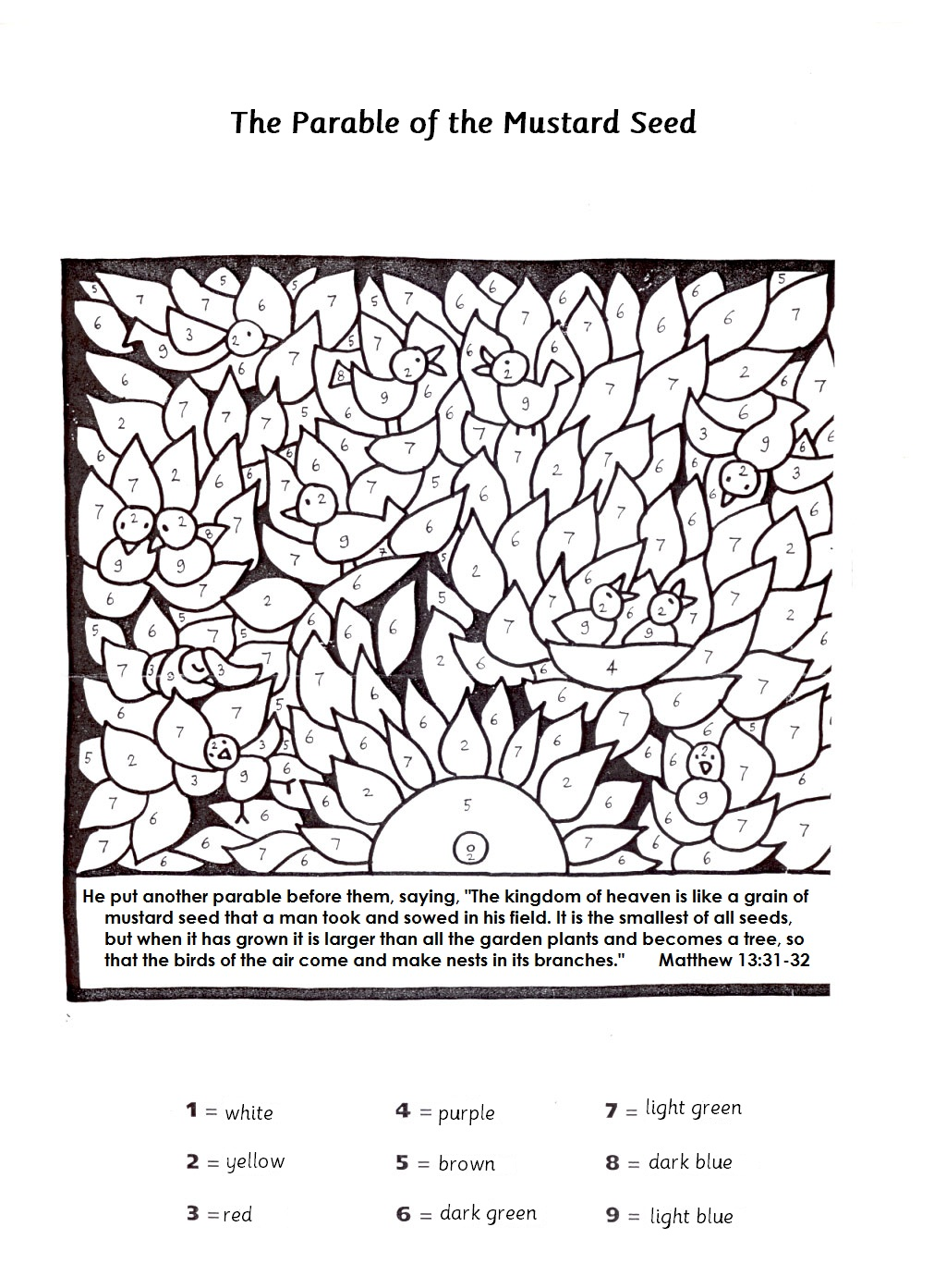 mustard seed parable coloring page - cut and paste december 2012