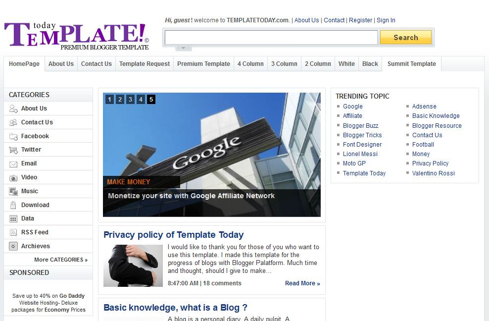 Free Download Template Today Blogspot ala Yahoo!!