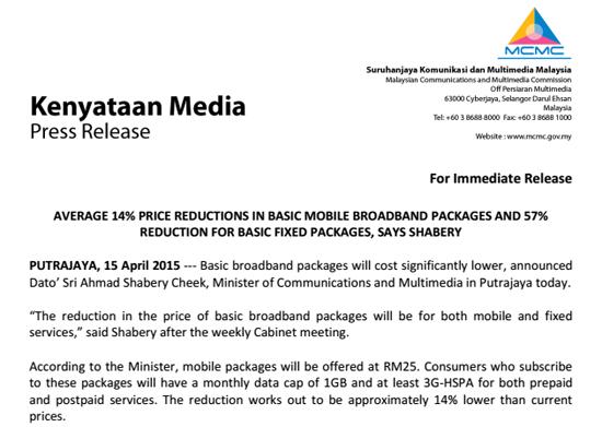 Kenyataan Media SKMM Harga Pakej Jalur Lebar Internet Turun 14 dan 57 Peratus