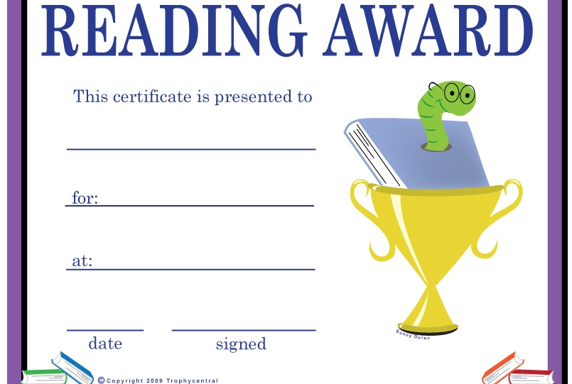 certificatestreet com education 4 good reader award certificate 261 ...
