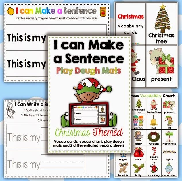 Christmas I can Make a Sentence Play Dough Mats, Vocab. Cards + Record Sheets