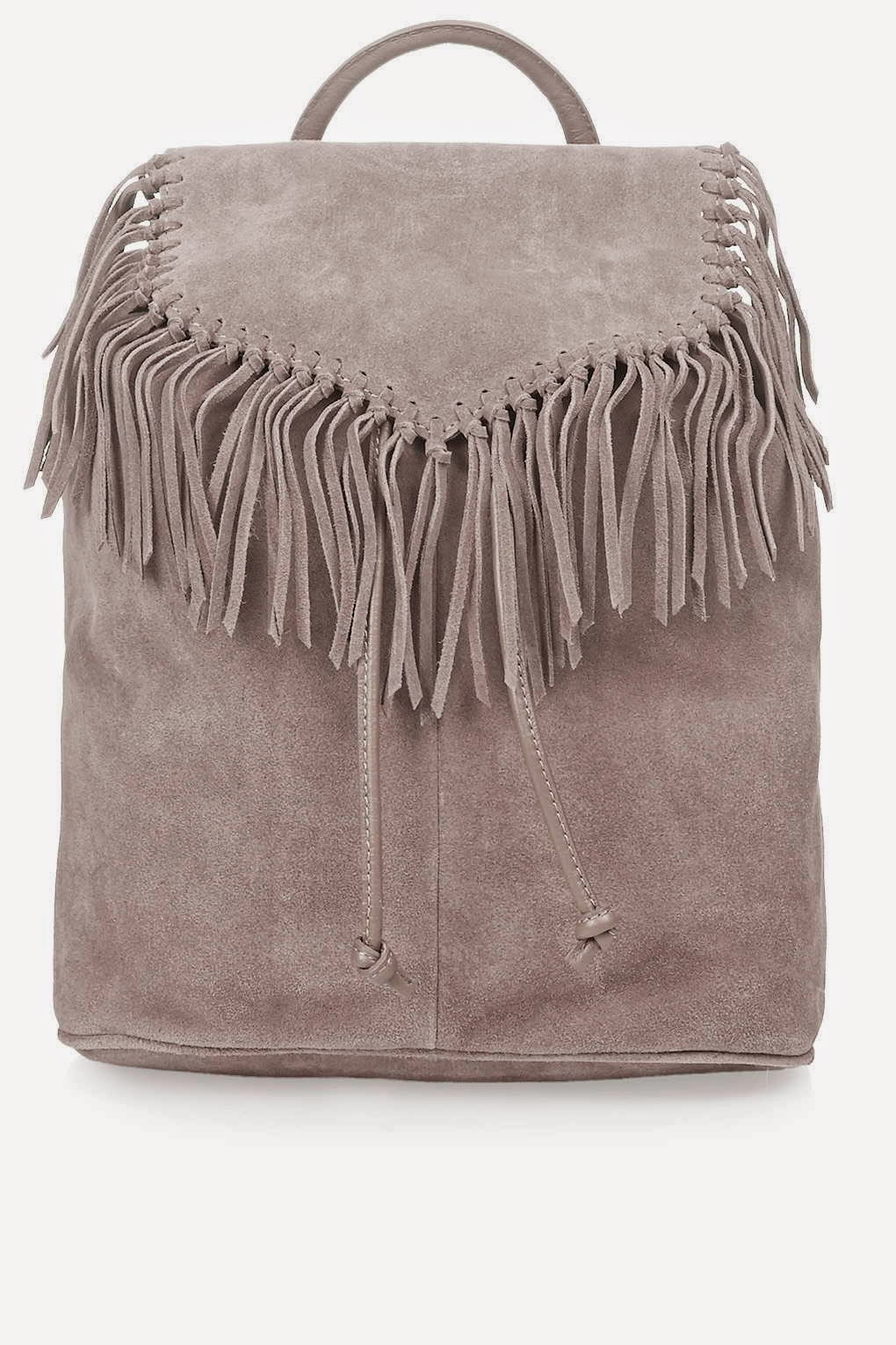 grey suede tassel backpack, grey suede fringed backpack,