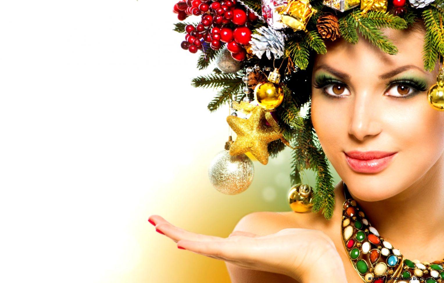 girl happiness make up laurel christmas new year photo wallpaper