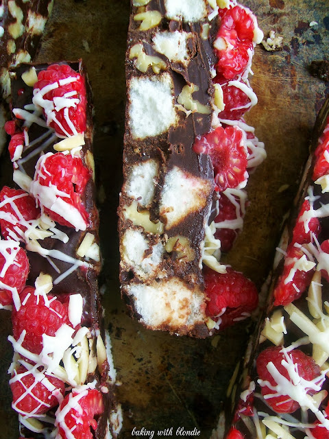 Dark Chocolate Raspberry Walnut Cake Bars