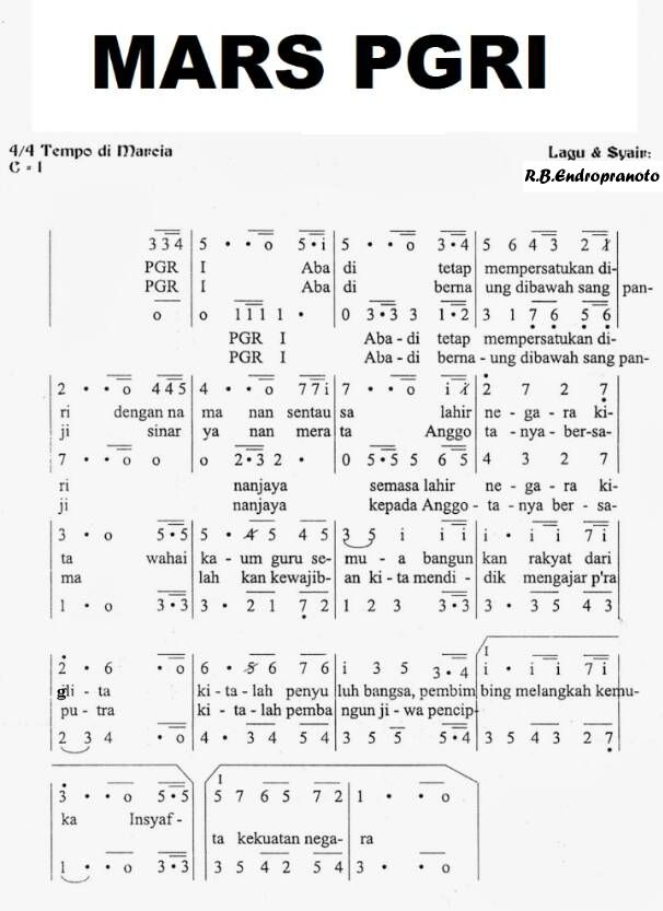 Notasi Lagu Mars PGRI, Lagu Wajib Nasional, HUT PGRI