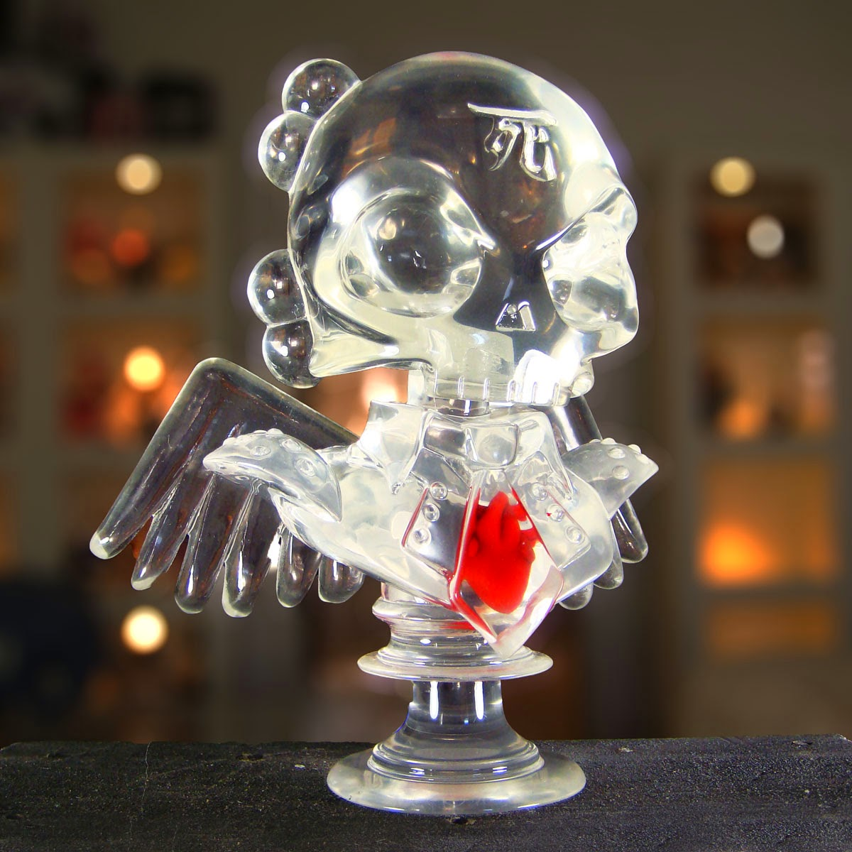 """Not Another Heartless Bastard"" Clear Skullhead 6"" Resin Bust by Huck Gee"