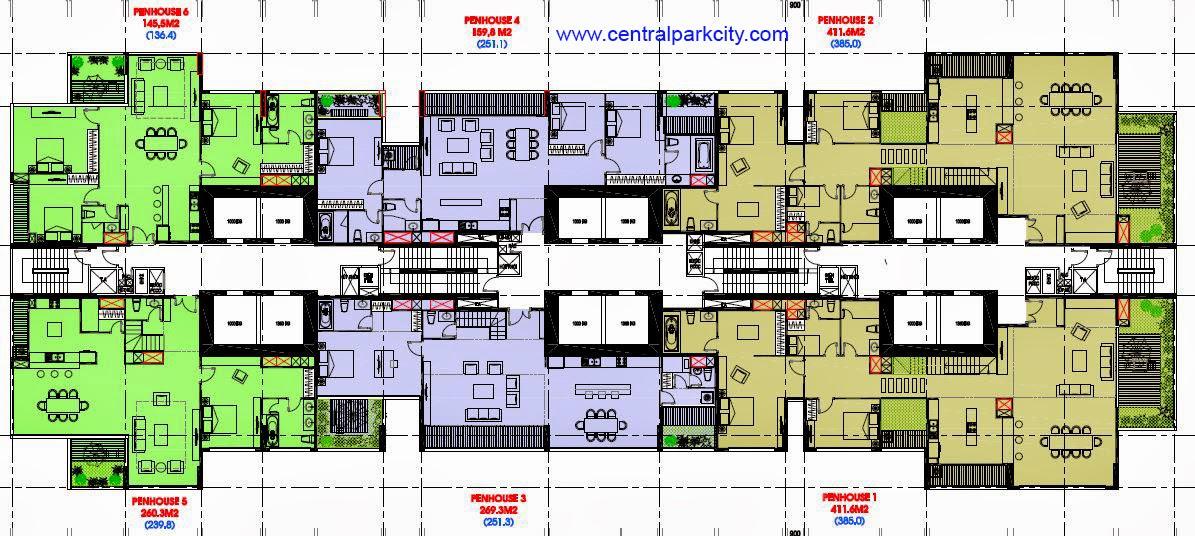 Penthouse Vinhomes Central Park  - Mặt bằng tầng 45 - The Central 2 (C2)