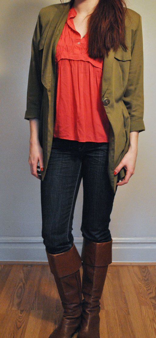 a style of your own blog, H&M hat, vintage gold brooch, J crew earrings, chestnut boots, Forever 21 coral blouse