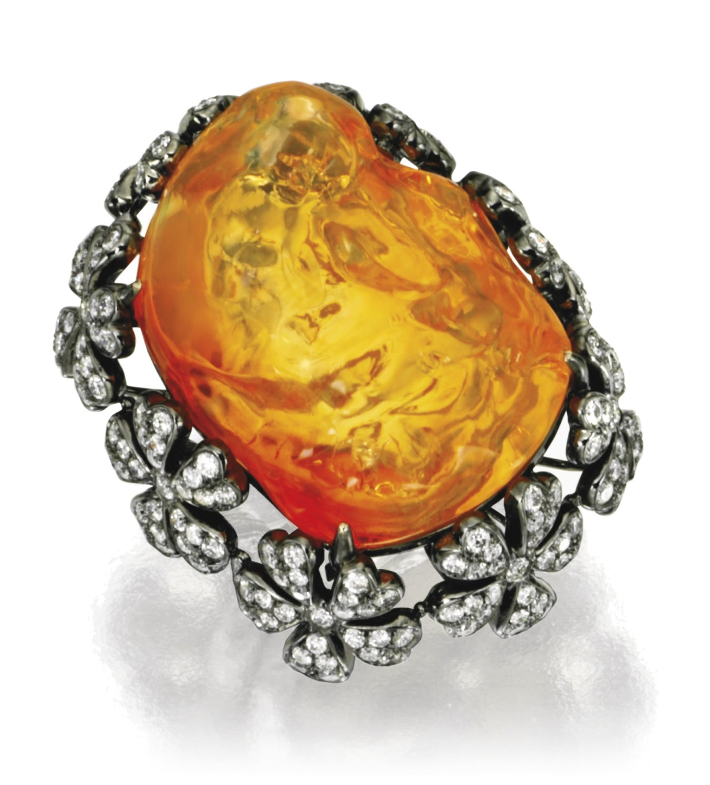 Gold fire opal and diamond ring by sifen chang 18 karat blackened gold