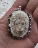 Lion Head Carved Bone Pendants in Antler