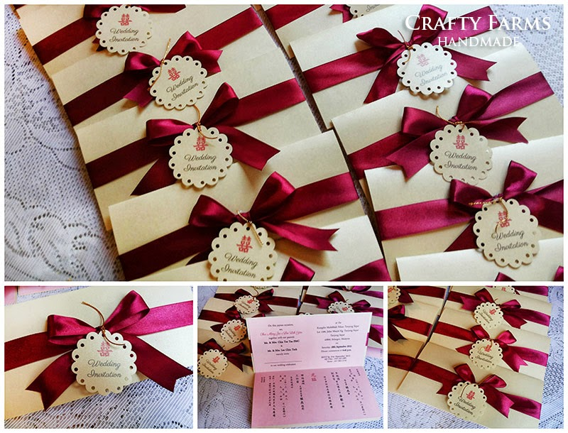 Wedding Card Malaysia | Crafty Farms Handmade : Modern Red Bow ...