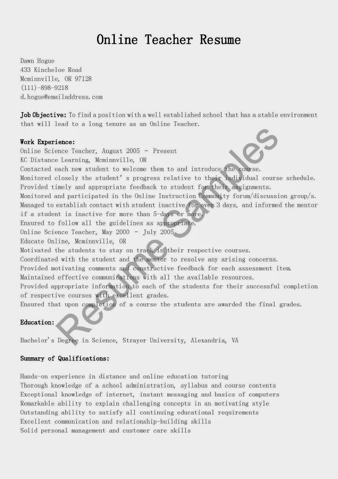 resume samples  online teacher resume sample