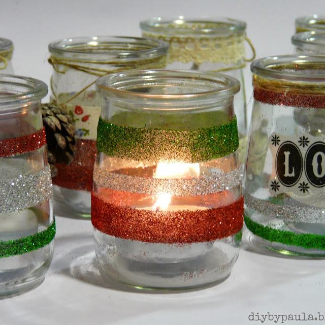 Portavelas con vasitos (Navidad)