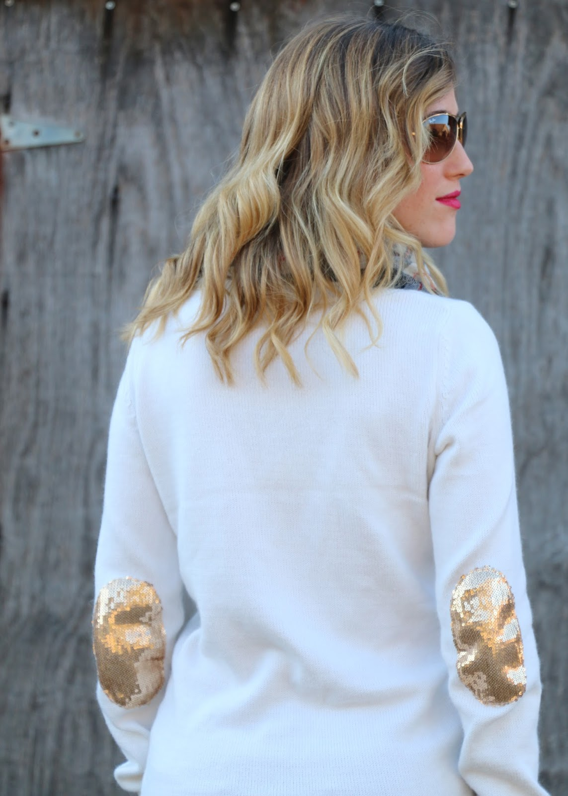 gold sequin elbow pads