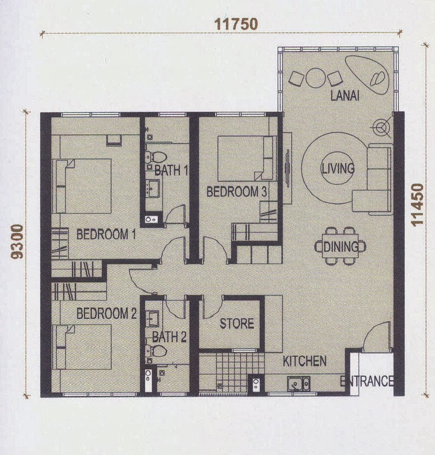 Floor plan feng shui elevia residences condominium for Good feng shui house floor plan