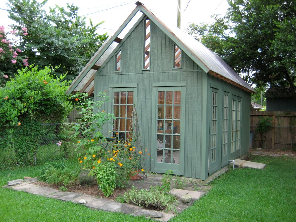 Erika 39 s chiquis sewing sheds for Garden greenhouse design