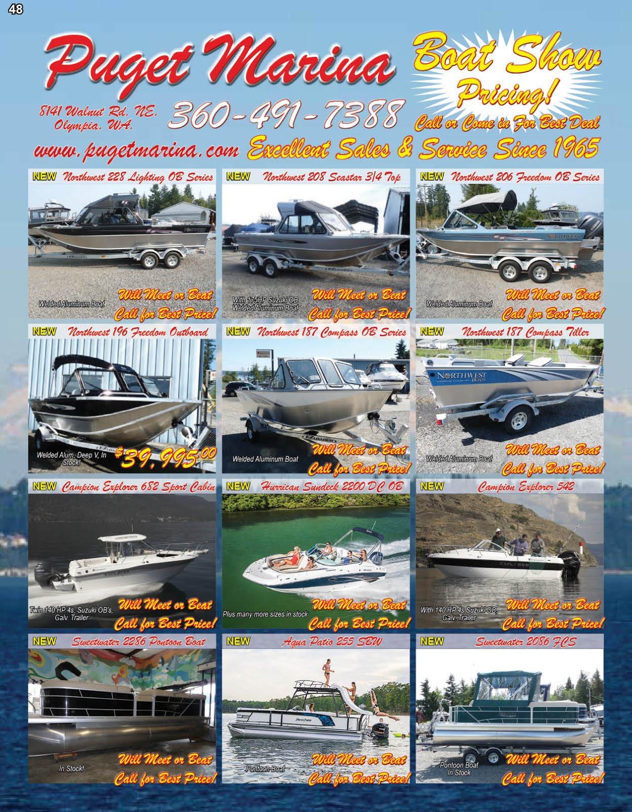 Puget Marina Boat Show Specials