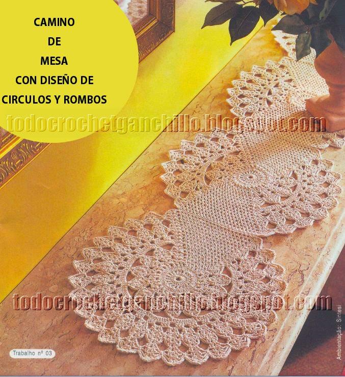 Camino de mesa tejido al crochet con original diseño