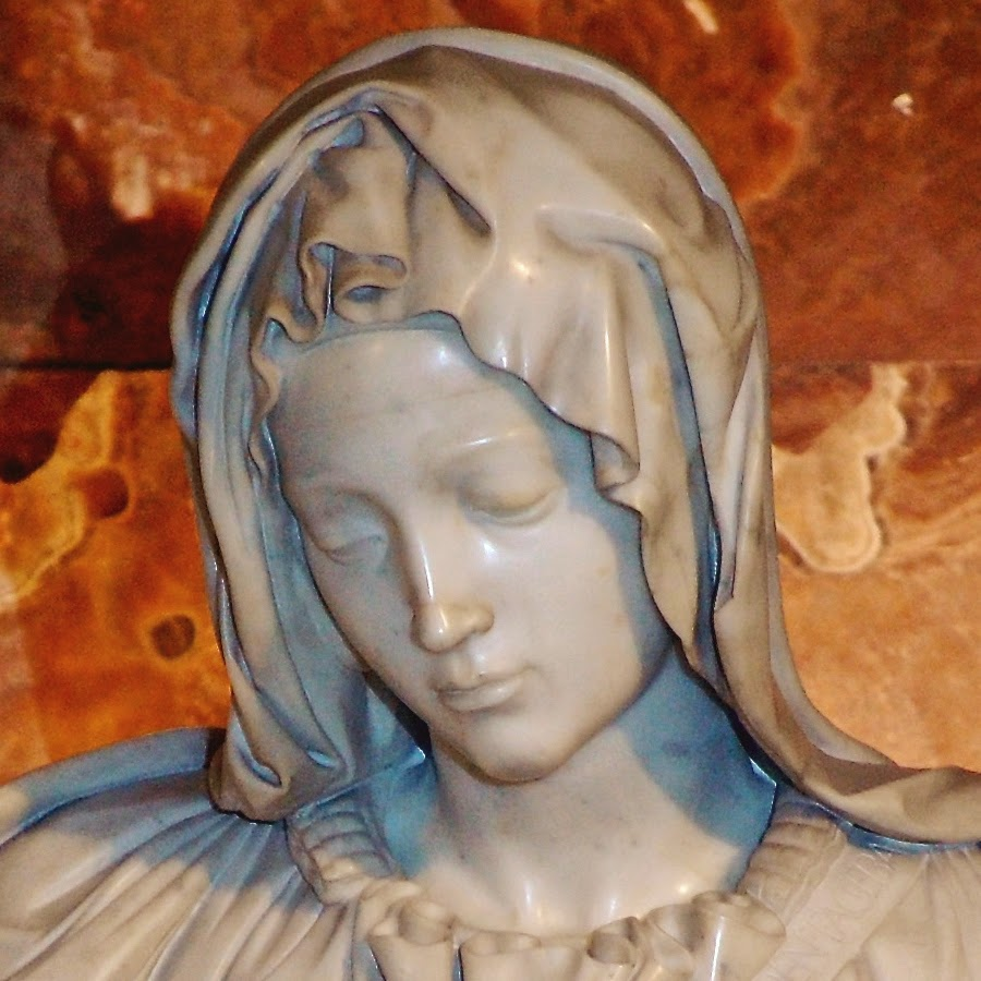 Restored Pietà, with restoration lines visible on nose and left eyelid