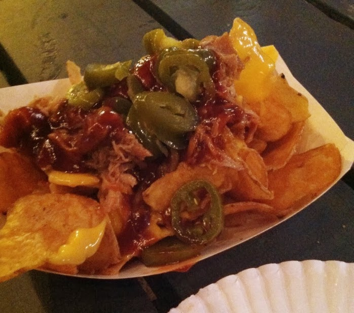 Cowboy Nachos (tater chips, pulled pork, bbq sauce, cheese, and ...