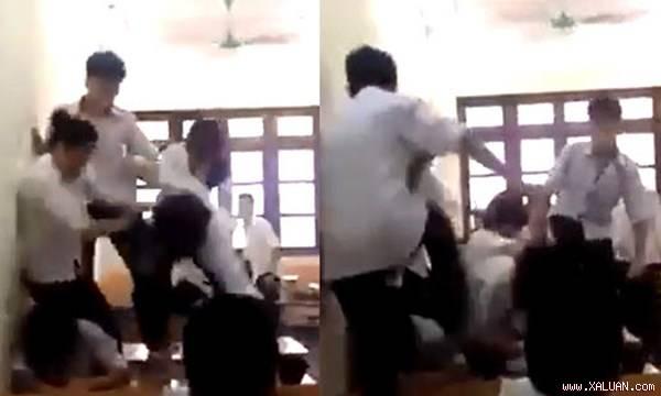 Phẫn nộ clip 6 nam sinh trai đấm, đạp 1 nữ sinh dã man