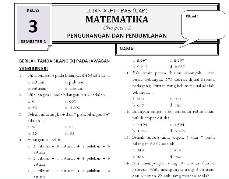 Soal Matematika Kelas 3 Bab 2 Pengurangan Dan Penjumlahan Rief Awa Blog Download Kumpulan