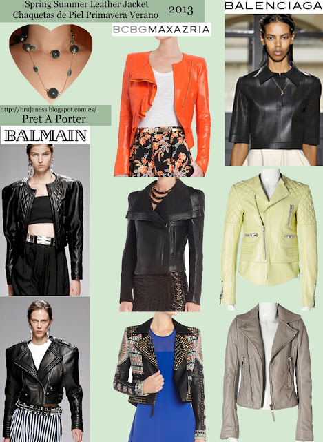 BCBG Max Azria Balenciaga Balmain cazadora cuero piel polipiel pu vegana negra naranja acolchada etnico cuantas bordada biker manga tres cuartos amarilla pastel cremallera marrón beige pasarela diseñadores moda pu leather jacket vegan skin black leatherette padded orange ethnic embroidered biker few three-quarter sleeves beige brown yellow runway catwalk fashion designers fashion show Cazadoras Pret A Porter Temporada Primavera Verano 2013 Jackets Season Spring Summer