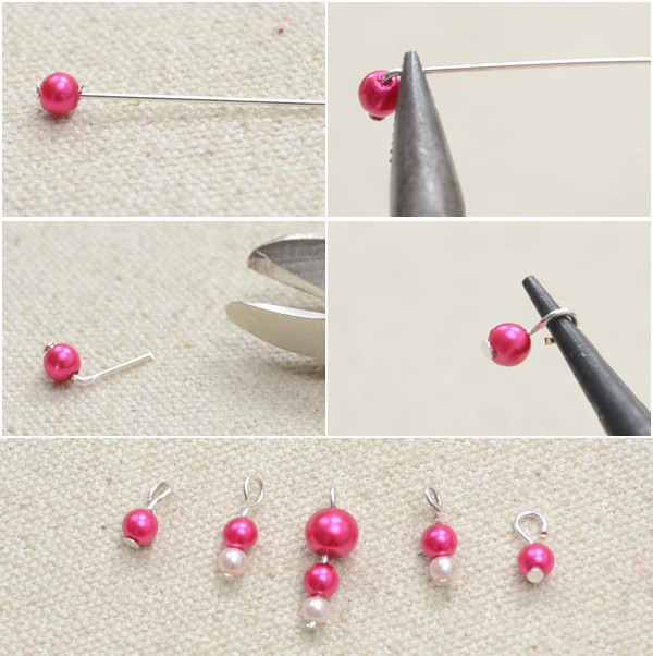 Thirdly Slide An 8mm Glass Pearl Beads Onto A Headpin And Make Simple Loop