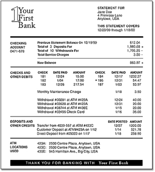 Bank account reconciliation template