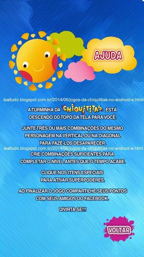 JOGOS da CHIQUITITAS no ANDROID e iPhone iPad para Jogar Oficial - Lealtudo