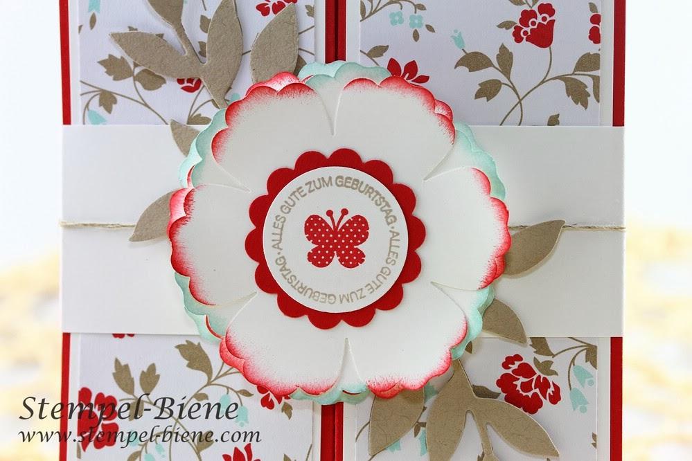 Geldgeschenk Geburtstag basteln, Box-Card, Designerpapier Frisch & Farbenfroh Stampin up, Stanze Blume Stampin up, Ein Gruß für alle Fälle, Flowering Flourishes, Stempel-Biene