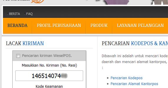Cara Cek Kiriman Pos Indonesia ~ Cara Online