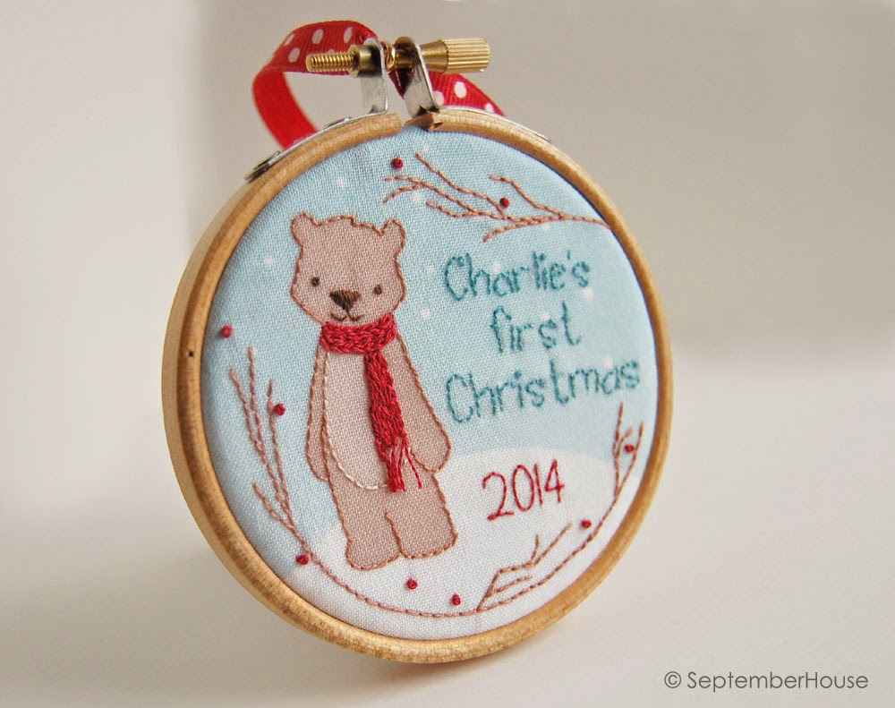 Baby's First Christmas Woodland Bear Holiday 2014 Handmade Ornament