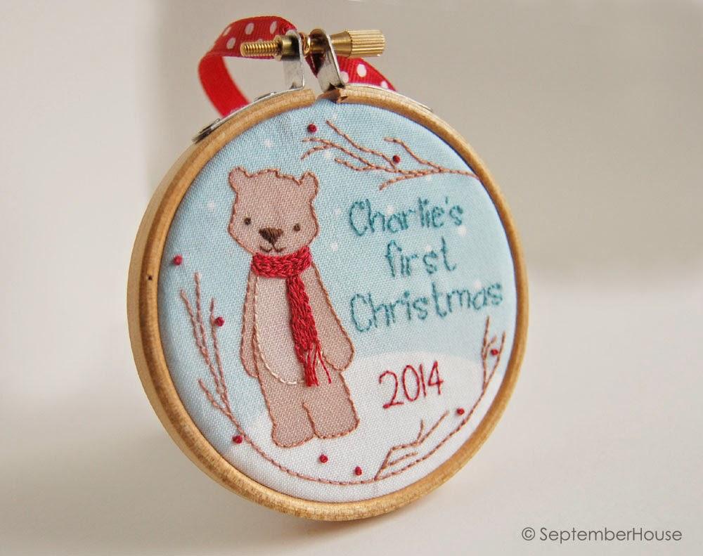 Baby's First Christmas Woodland Bear Holiday 2014 Handmade Ornament