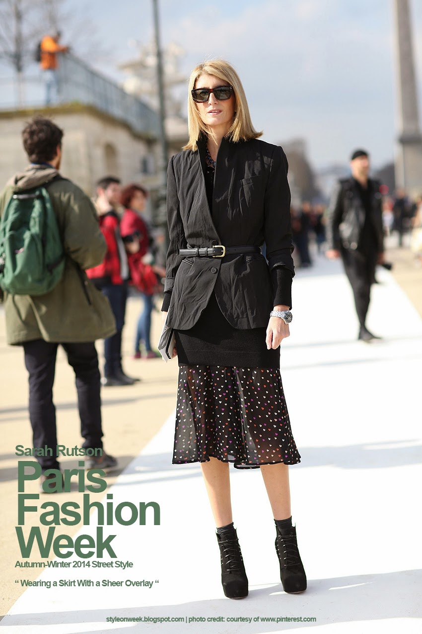 Paris Fashion Week Autumn-Winter 2014 Street Style - Wearing a Skirt With a Sheer Overlay