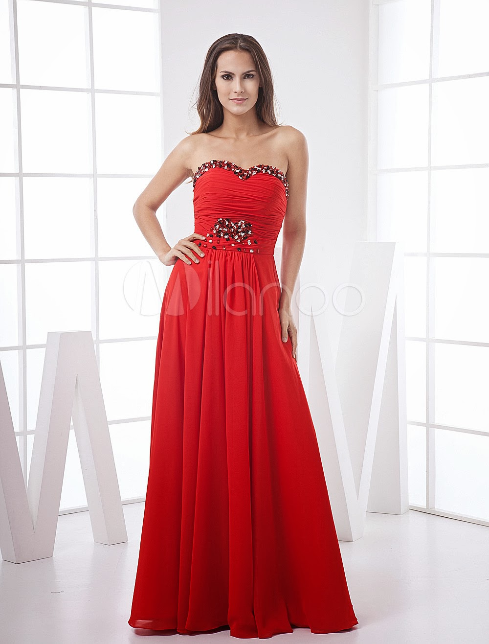 China Wholesale Dresses - Unique Red A-line Empire Waist Strapless Sweetheart Hand-made Paillette Satin Evening Dress