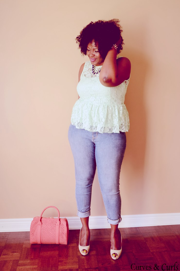 Plus size fashion blogger #mycurvesandcurls #lace #peplum #ciaafrique #mint